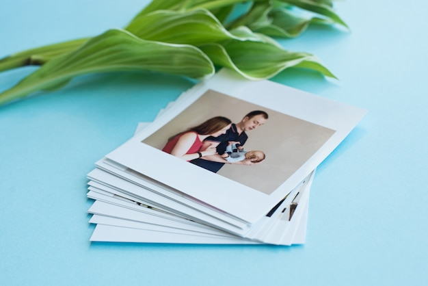 Instant photos with leaves
