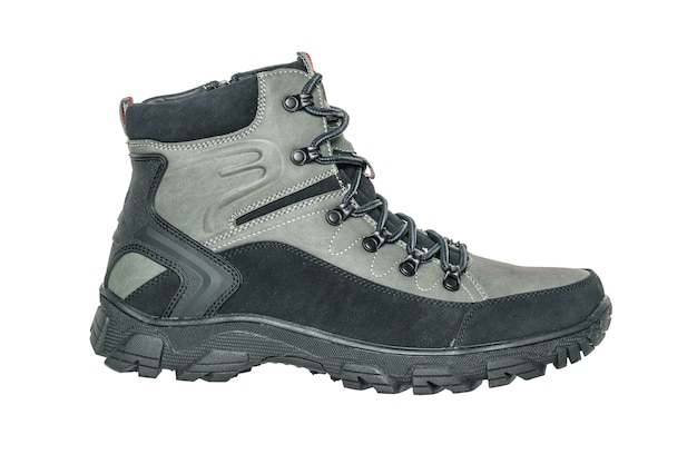 Insulated boot for winter hiking isolated on a white surface