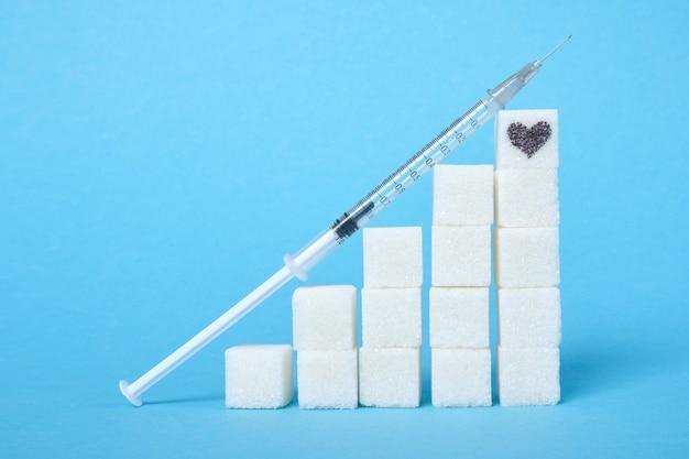 Инсулиновый шприц и лестница из кубиков белого сахара на синей поверхности