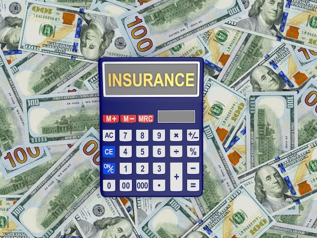 Insurance on the calculator screen on dollar bills in 3d