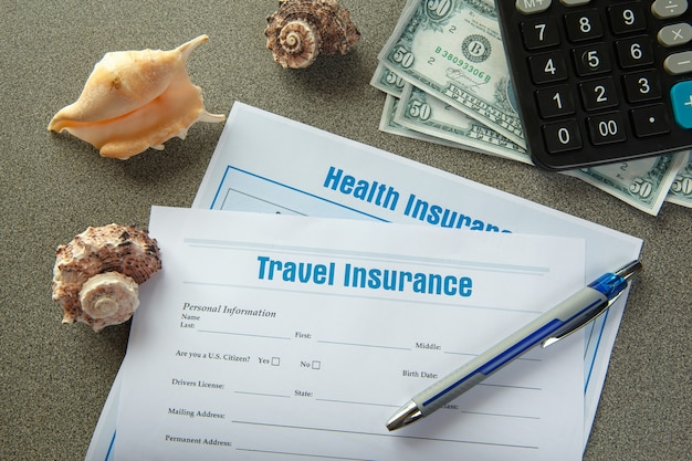 Insurance concept. travel and accident insurance. insurance policy andturtle