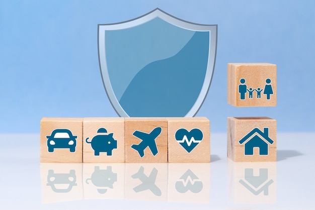 Insurance policy services. life, car, property, health and family. insurance concept.