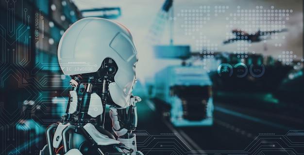 Интеллектуальные технологические концепции с логистическим партнерством мирового класса, индустрия промышленных контейнерных грузов, концепция интернета вещей, быстрая или быстрая доставка. 3d и иллюстрации.