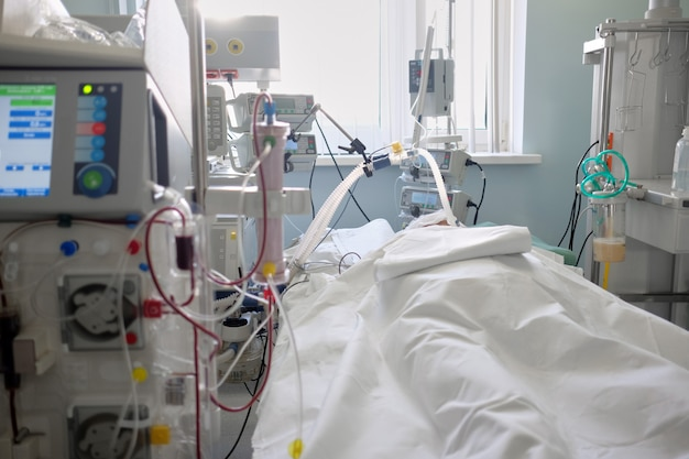 Intensive care emergency room with hemodialysis machine or hemofiltration procedure.