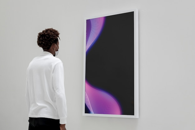 Interactive digital art screen at a gallery