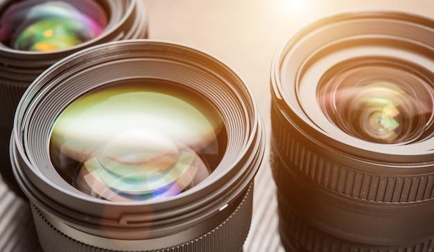 Interchangeable camera lenses. flare effect