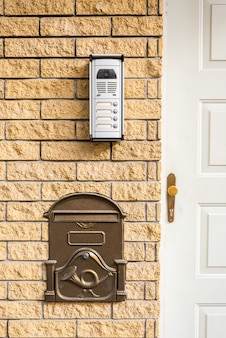 Intercom and mailbox at the door