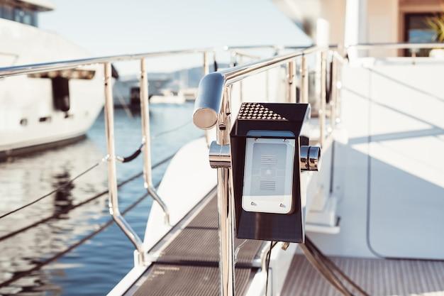Intercom system on modern yacht entry