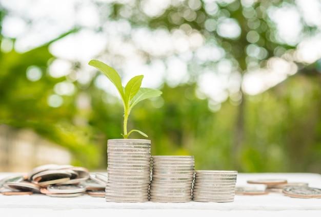 저축 돈 개념에서 성장하는이자 돈 금융 공장