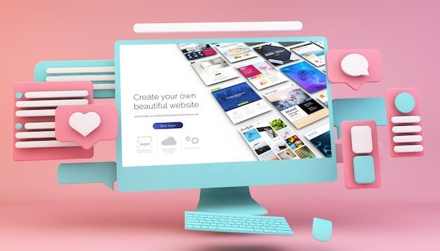 인터페이스 디자인 컨셉 3d 렌더링