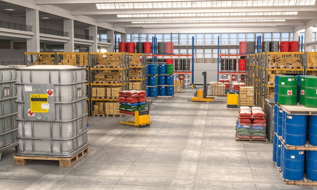 Interior 3d render of a warehouse used for the storage of various goods.