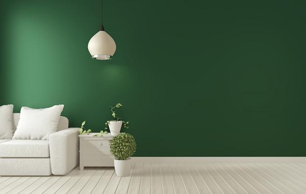 暗い緑のリビングルームinterior.3dレンダリングのポスターフレーム