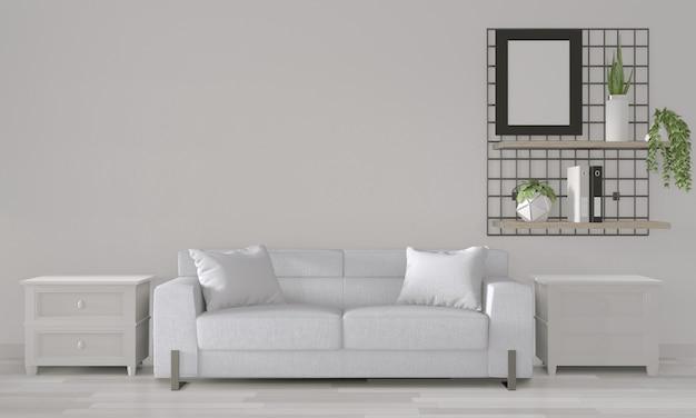 モダンな部屋interior.3dレンダリングに白いソファと白い部屋