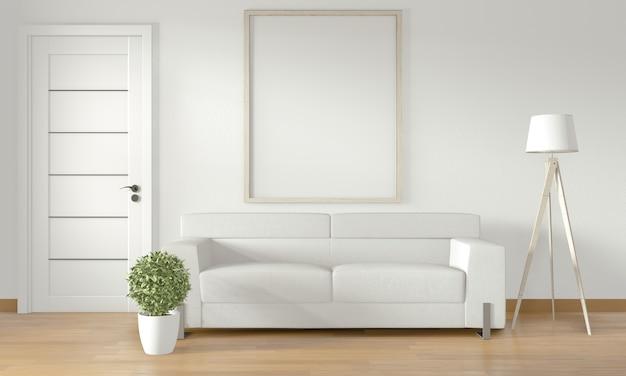 モダンな部屋interior.3dレンダリングに白いソファと白い壁にポスターフレーム