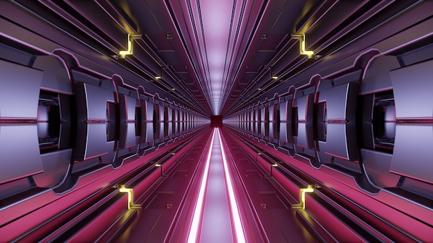 Interior of abstract corridor 4k uhd 3d illustration