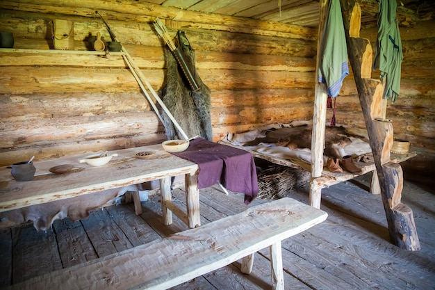 Interior of ancient peasant log cabin Premium Photo