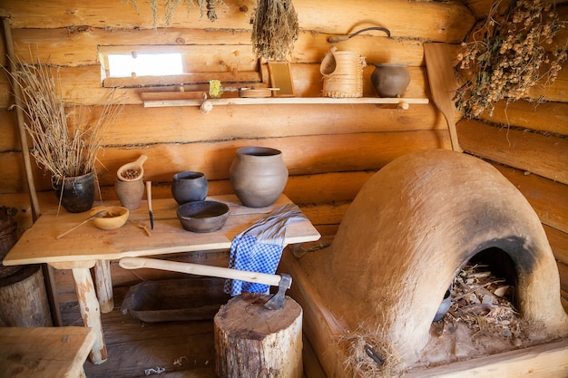 Interior of ancient peasant log cabin