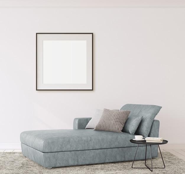 Макет интерьера и каркаса. современный диван возле пустой белой стены. 3d визуализация.