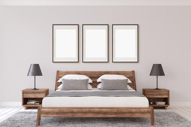 Макет внутренней рамы. деревянная спальня. 3d визуализация.