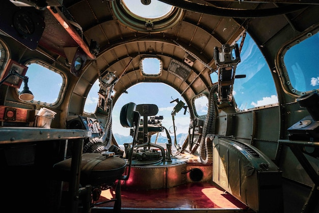 Interior of a b-17 bomber plane from wwii in an airbase