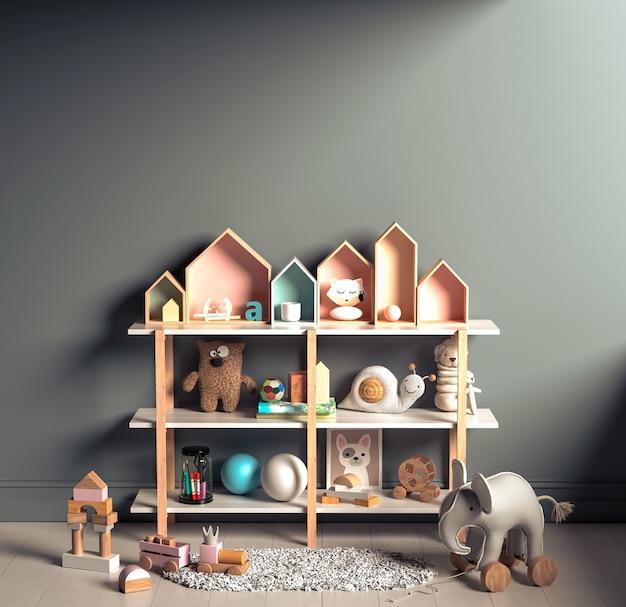 천연 목재 가구가있는 어린이 방에서 인테리어 배경 조롱