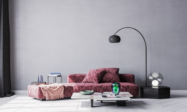 Внутренний фон. модный удобный красный диван в современной пустой стене черный интерьер. стол из белого мрамора