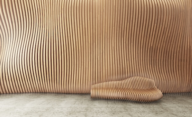 Interior background with parametric wooden panel wall