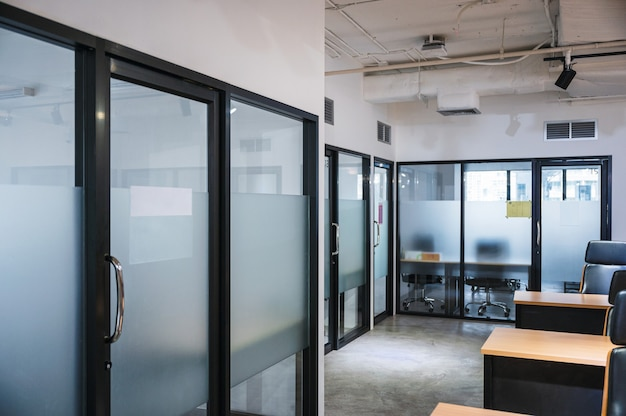 Interior of bankrupt empty modern office coworking space