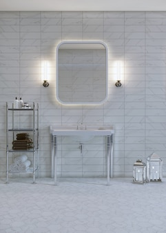 Interior of a bathroom with furniture