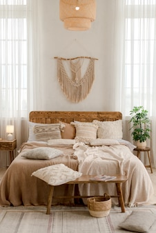 Interior of a bedroom in boho style