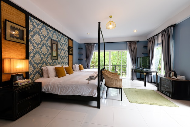 Interior of a bedroom in a hotel at phuket thailand