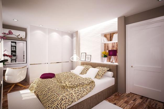 モダンなスタイルのインテリアベッドルーム。インテリア・デザイン