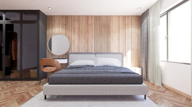 Interior of bedroom modern style has a coat cabinet beside