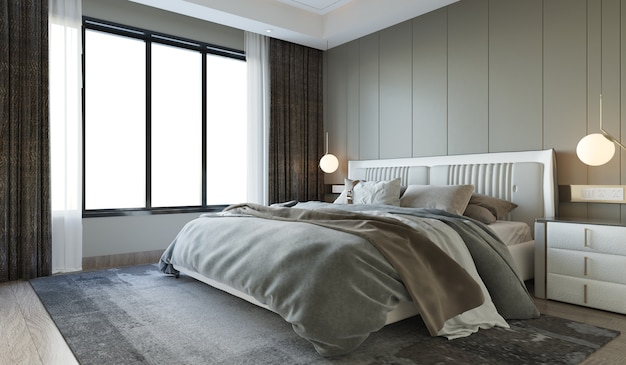 Interior bedroom modern style with wall decorate Premium Photo