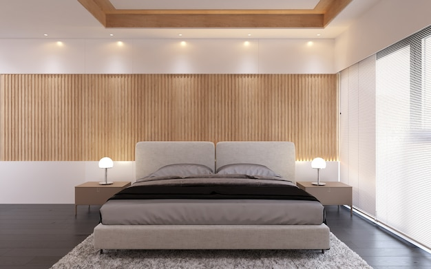 Interior bedroom room modern style with wooden panel pattern