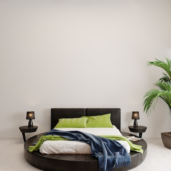 Interior of a bedroom with green plant