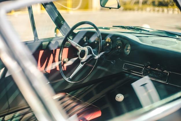 Interior of a black classic retro car