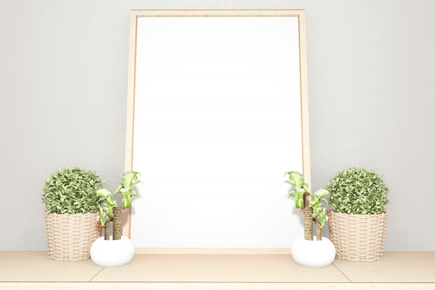 Interior blank frame  scene top table wooden and white picture. 3d rendering