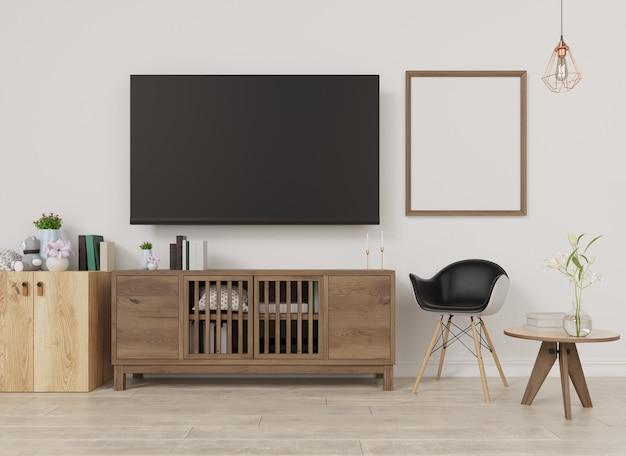 Interior blank photo frame living room