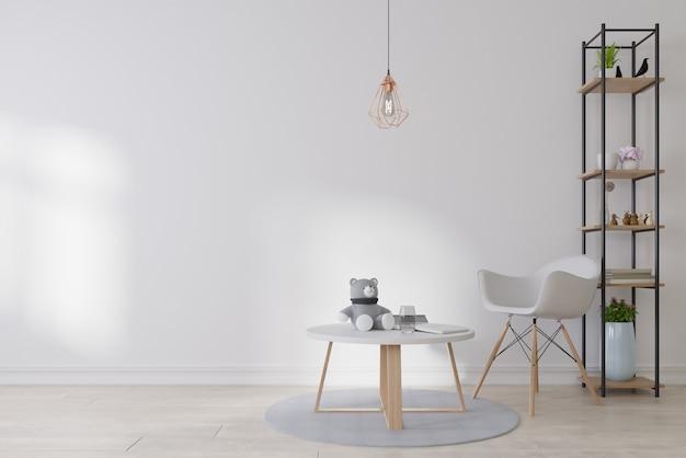 Interior blank photo frame in living room