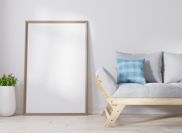 Interior blank poster frame in living room Premium Photo