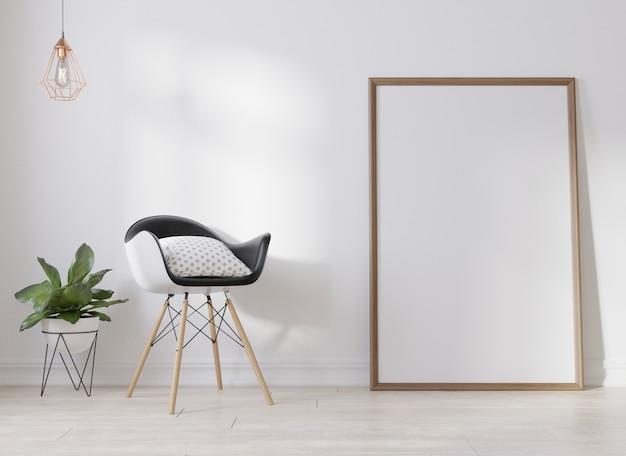 Interior blank poster frame in living room