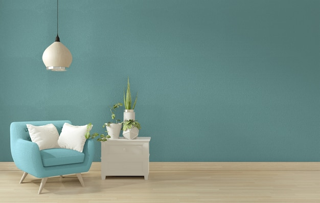 Interior blue living room design.3d rendering