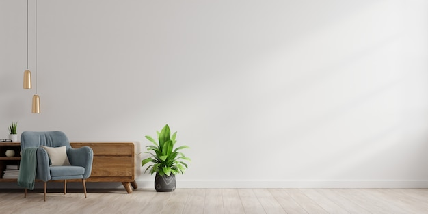 Interior of a bright living room with armchair on empty white wall background.