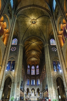 Interior of the cathedral of notre dame