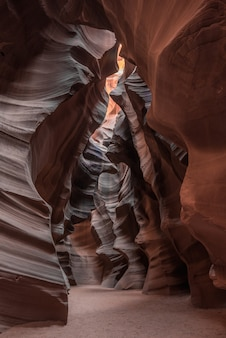 Interior of a cave with gorgeous textures in antelope canyon, usa