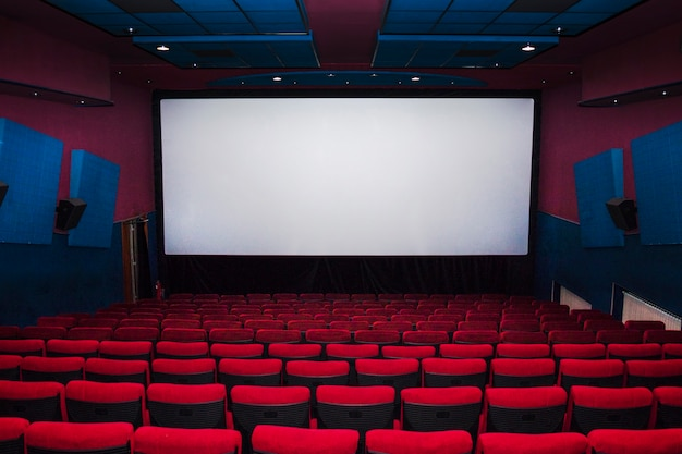 Interior of cinema hall with chairs