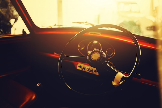 Interior of classic old cars, vintage retro effect style.