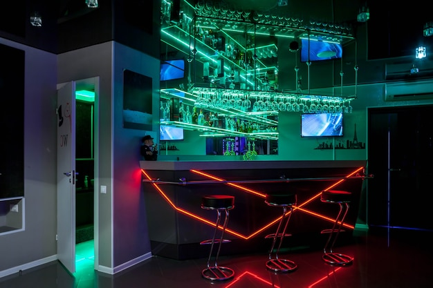 Interior of closed private club in residential is furnished modernly, where men hire prostitutes for male pleasures. concept escorts, prostitution, lap dances, striptease show. copy space background