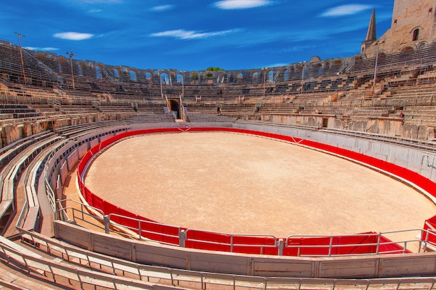 The interior of the colosseum or coliseum in arles, france